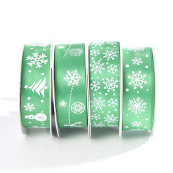 Напечатано атласная лента зеленый рождественский подарок ленты