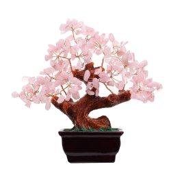Cristal de Quartz Rose naturelle Money Tree Décoration de style Bonsai