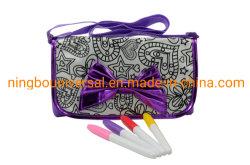DIYの紫色の絵画カラリングデッサンの学校のショルダー・バッグの子供