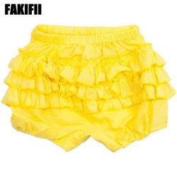 تصنيع أفضل جودة ملابس الأطفال منسوجة الملابس الصيف القطن السروال الأصفر ملابس العلامة التجارية للأطفال