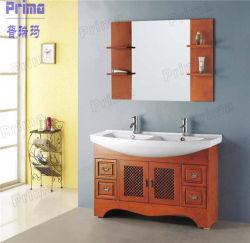 유리 거울이 있는 단단한 나무 욕실 가구