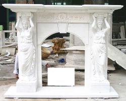 Do lado ocidental para entalhar lareira de pedra mármore branco puro de Mantel