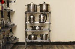 Die 3 Reihe-stehendes Zahnstangen-Metalldraht-Küche-kochendes Gerät-Speicher-Regal abreißen