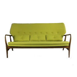 Style suédois moderne en bois massif de retour d'aile de trois sièges Salon canapé avec coussin