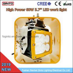 Amarillo 6'' de los Proyectores LED 60W para carretilla Cat Volvo maquinarias para servicio pesado