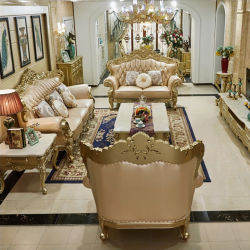Mobiliário clássico grosso esculpidas em madeira sofá de couro com mesa de mármore