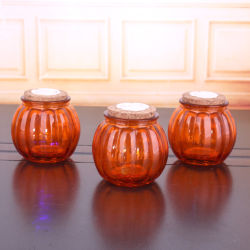 330ml dom do Dia das Bruxas com suporte para velas em vidro colorido gravado de abóbora