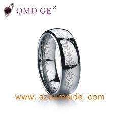 Bandas de casamento de tungsténio branca única com a impressão