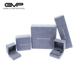 Contenitore di monili provvisto di cardini plastica grigia di lusso su ordinazione di vendita caldo del velluto con pelle scamosciata