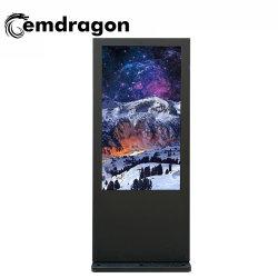 エアコン縦スクリーンの床の屋外広告機械65インチのタッチ画面のCopmputerのキオスクの屋内広告のパネルフレームのデジタル写真LED