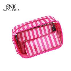 Haut de haute qualité fermeture à glissière de l'utilisation de voyage souple PVC clair Sac de maquillage, Mesdames étanche portable sac de cosmétiques