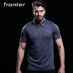 Camicia 100% di polo corrente di sport di forma fisica del Mens di colore solido del poliestere