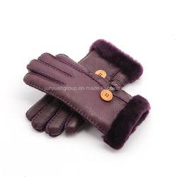 새로운 Sheepskin Fur Leather Winter 디자인 형식 숙녀 운전 장갑