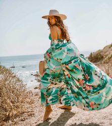 Grue feuilles vertes Imprimer Robe Robe Robe de plage occasionnel pour des vacances