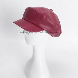 Классический моды PU поддельные кожаные художник береты восьмиугольной Newsboy Red Hat