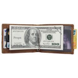 Amazon Hot la vente de la vente en gros en cuir marron Prix Crazy Horse Money Clips carte format portefeuille cas pour les hommes