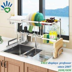 Plat en rack de séchage au cours de support d'écran du dissipateur de drainer l'étagère de cuisine en acier inoxydable
