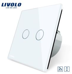 Chambre standard de l'UE Livolo Touch Accueil rideaux LED Remote Switch, White Crystal de luxe sur la touche du panneau de verre