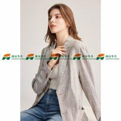 Nuevo diseño en lino hilado de algodón colorante verificar Lady chaqueta.