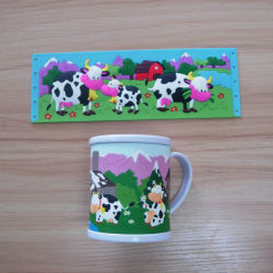 3D el PVC blando taza taza taza taza el logotipo de animales de vaca (como-PM-LU-004)