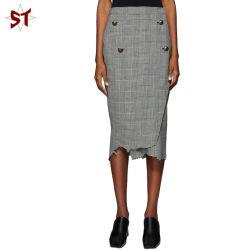 Женщин Клетчатую юбку поршня с помощью кнопок 100% хлопок половина юбка для женщин