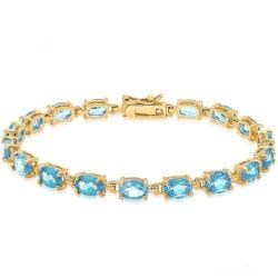 14k de oro en tenis de piedras preciosas Plata Pulsera de estilo con topacio azul