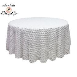 """قماشة طاولة زفاف من القماش المزأبر الأبيض """"شبكي"""" مقاس 120 بوصة مستديرة"""
