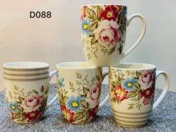 Fabrik Exporteure Großhandel handgefertigte Blumen Ideen Kreative 12oz 360ml Keramik Tasse Porzellan Becher Set Geschenk in Backofen Gefrierschrank