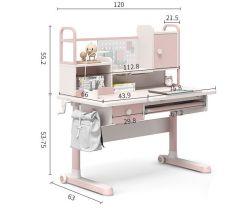 人間工学に基づいたキッズ・スタディ・デスク(ダブルブックシェルフ付き)子供用の書斎 テーブルチェア