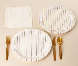 Folha de ouro metálico Striped pratos de papel para a festa de aniversário (9, 48 Pack)