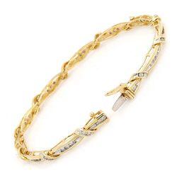 다이아몬드 (LBRG1037)를 가진 14K 황금 팔찌