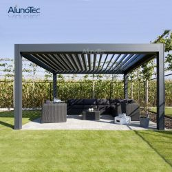 De parasol en el exterior de aluminio motorizadas de aluminio de la cubierta del patio jardín cenador con cortina