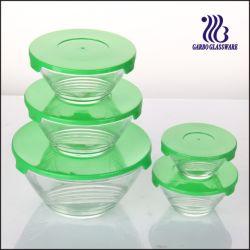 5PCS Kommen de van uitstekende kwaliteit van het Glas die met Multi-Line Ontwerpen met het Deksel van de Kleur worden geplaatst (GB1408U)