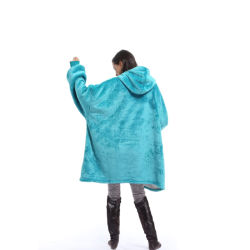 100% polyester Super doux géant confortable chaud Hoody Poche avant grand format Sherpa Hoodie Sweat-shirt Blanket
