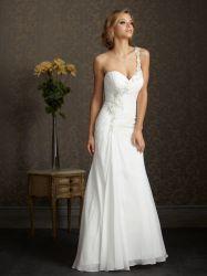 1개의 어깨 해변 결혼식 하얀 옷 시퐁 신부 웨딩 드레스 숙녀 야회복 법원 트레인