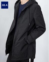 Hla coupe-vent des hommes de couleur unie longue noir Windproof veste à capuche