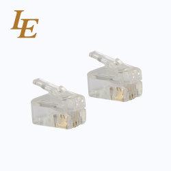 des Verbinder-6p6c vergoldung 50u Telefon-des Stecker-Rj11 Kristallhauptdes verbinder-6p6c
