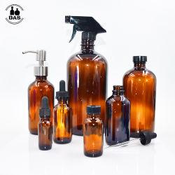 15mL 1oz 2oz 4oz 16oz 투명 황색 에센셜 오일 로션 음료를 위한 제약 펌프 드롭퍼 보스턴 라운드 글래스 병 샴푸