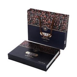 En forma de libro impreso en color café magnético Box Paquete con bolsa de compras