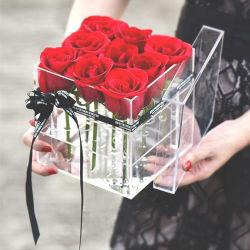 9 acrílico Rose Cristal de Plástico Transparente na caixa de exibição de flores por grosso de Luxo
