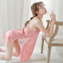 Servizio di qualità superiore della casa del Nightdress del vestito della cinghia del Halter delle donne dei pigiami del merletto di tentazione sexy della biancheria intima