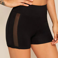 Shorts di riciclaggio del cinturino dell'inserto largo della maglia per ginnastica