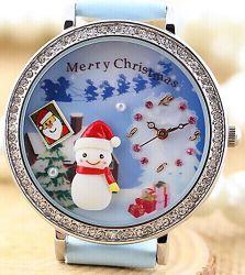 소형 Polymer Clay Watch Diamond Handmade 3D Limited Edition Watch Creation Creativity Happy New Year Merry Christmas Father Gift Reindeer Snow Snowman