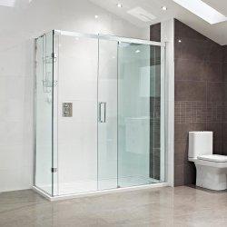 Claro vidrio templado de portátiles de deslizamiento libre sala de ducha clips