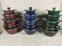 Conjuntos de panelas de alumínio fundido caçarola sopa & Stock vasos com revestimento em mármore utensílios de cozinha