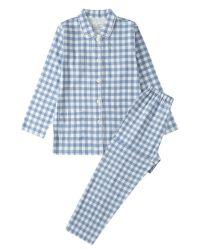 L'hiver pyjamas de flanelle de coton à rayures fils teints vérifier