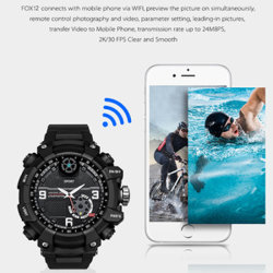 Fox12 Mini appareil photo smart regarder les sports de plein air portable Action Watch regarder WiFi caméra P2P 2K de mémoire H. 264 32g2 Ordonnances étanches IP67