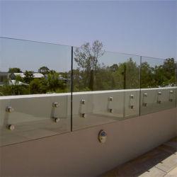 Закаленное защитное стекло балюстрады балкона стоек из нержавеющей стали поручни