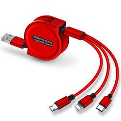 120cm 3 en 1 Câble de charge USB pour iPhone & micro USB et câble USB C Câble de recharge Portable escamotable pour iPhone 8 x Samsung S9