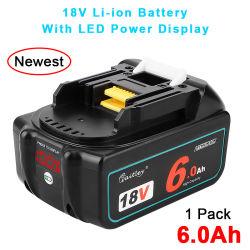 Waitley 18V 6.0ah Bl1860b 교체용 충전식 리튬 배터리는 와 호환됩니다 Makita Bl1830 Bl1860 Bl1860b Lxt 리튬 이온 배터리 도구(LED 포함 표시등